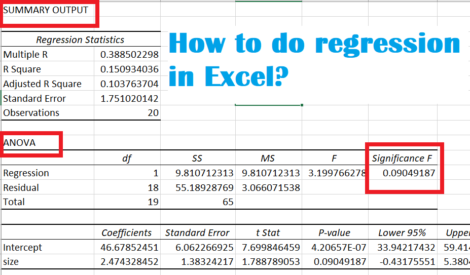 how to do regression in excel